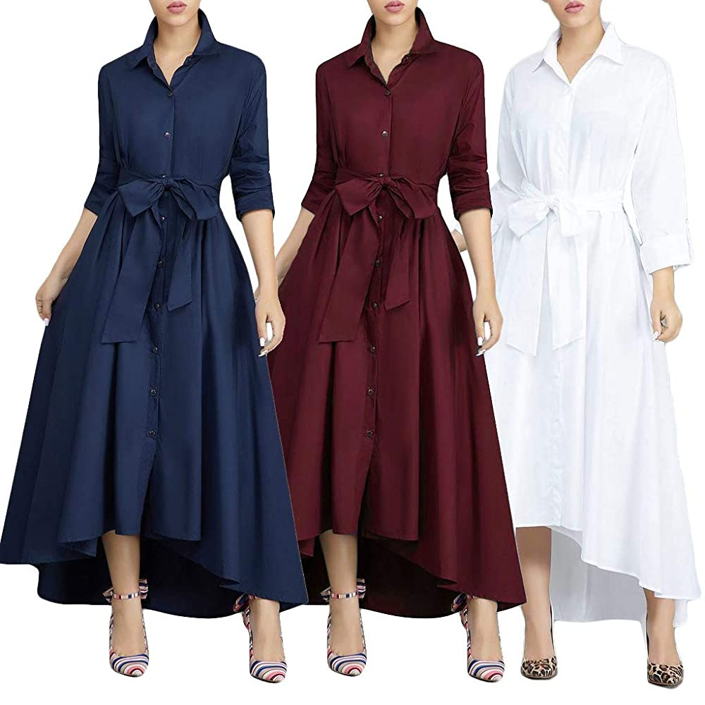 Women's Long Maxi Dress Bowknot Waist